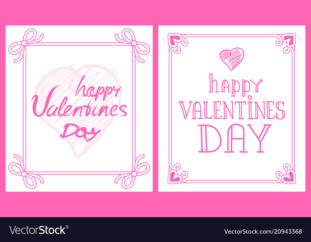 Happy valentines day pink post-card with greetings