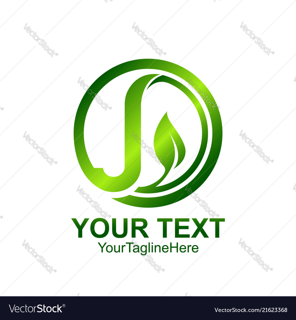 Initial letter j logo template colored green