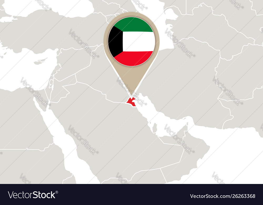 Kuwait on world map