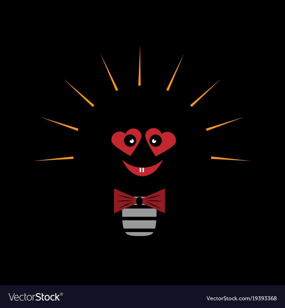 Light Bulb Symbol Of Heart Symbol Of Royalty Free Vector