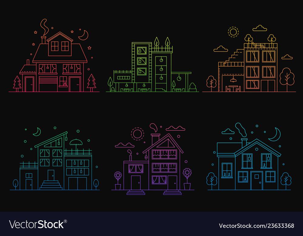 Set gradient line urban and suburban houses
