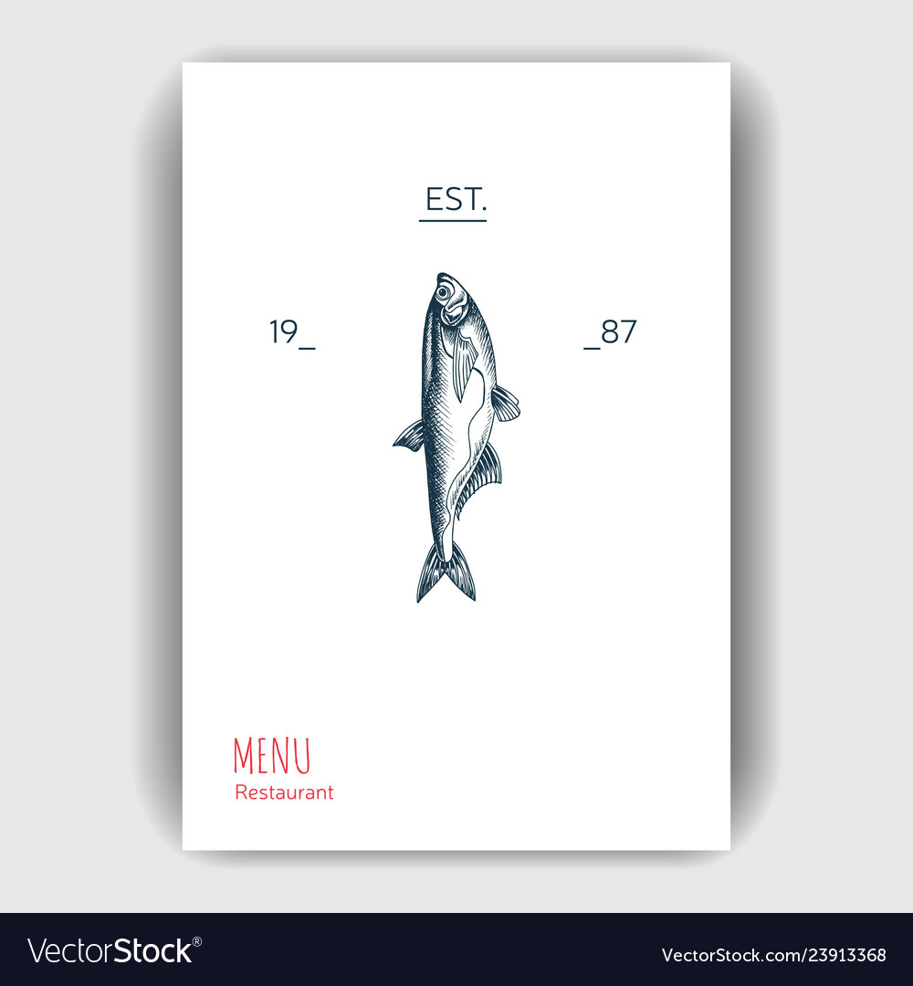 Sketch sea food restaurant vector