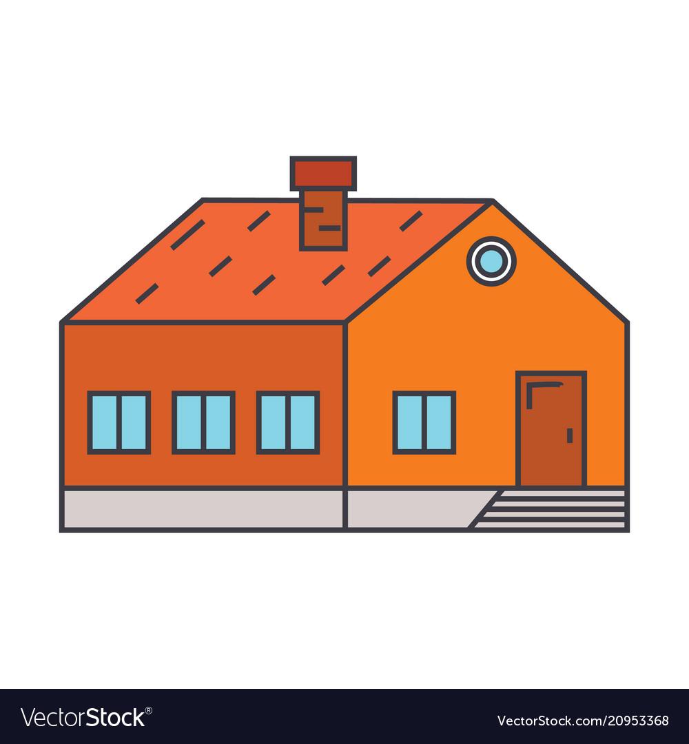 Village building line icon concept village vector image