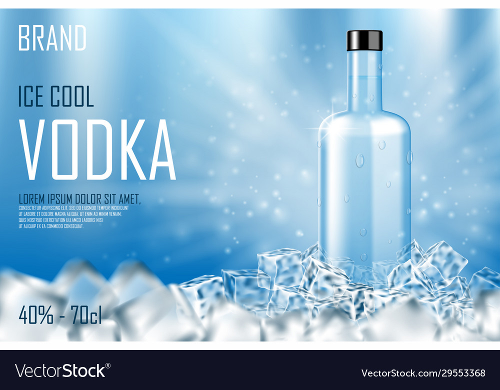 Vodka bottle with ice cubes ad strong alcohol