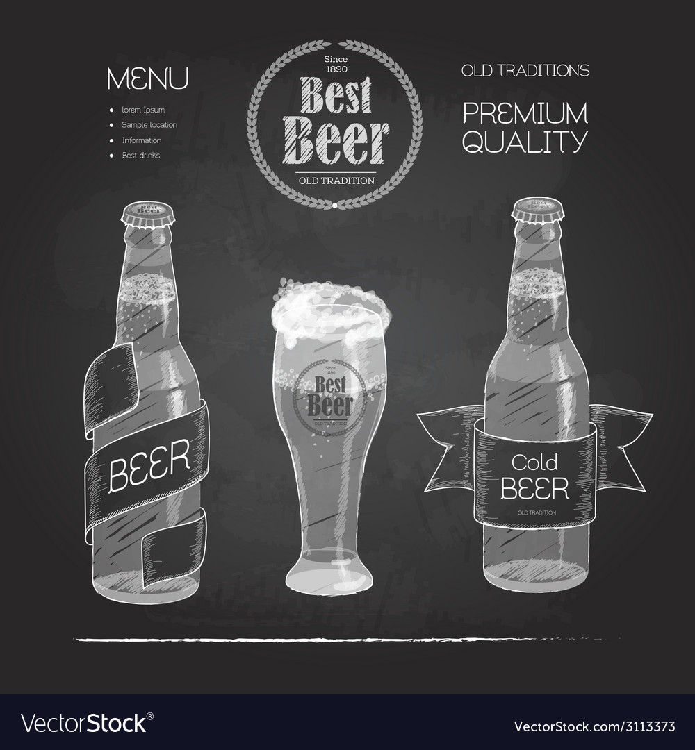 Beer in bottle and glass Chalk drawing vector image