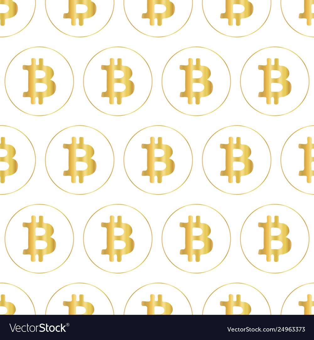 Bitcoin icon seamless pattern metallic