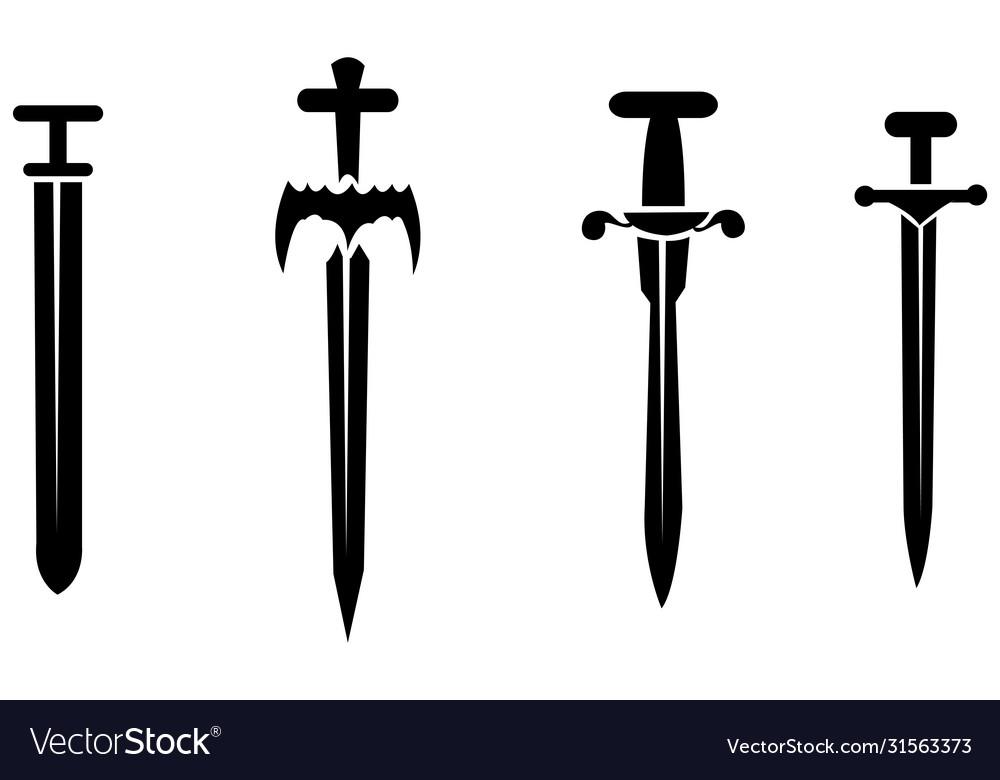 Black silhouettes swords