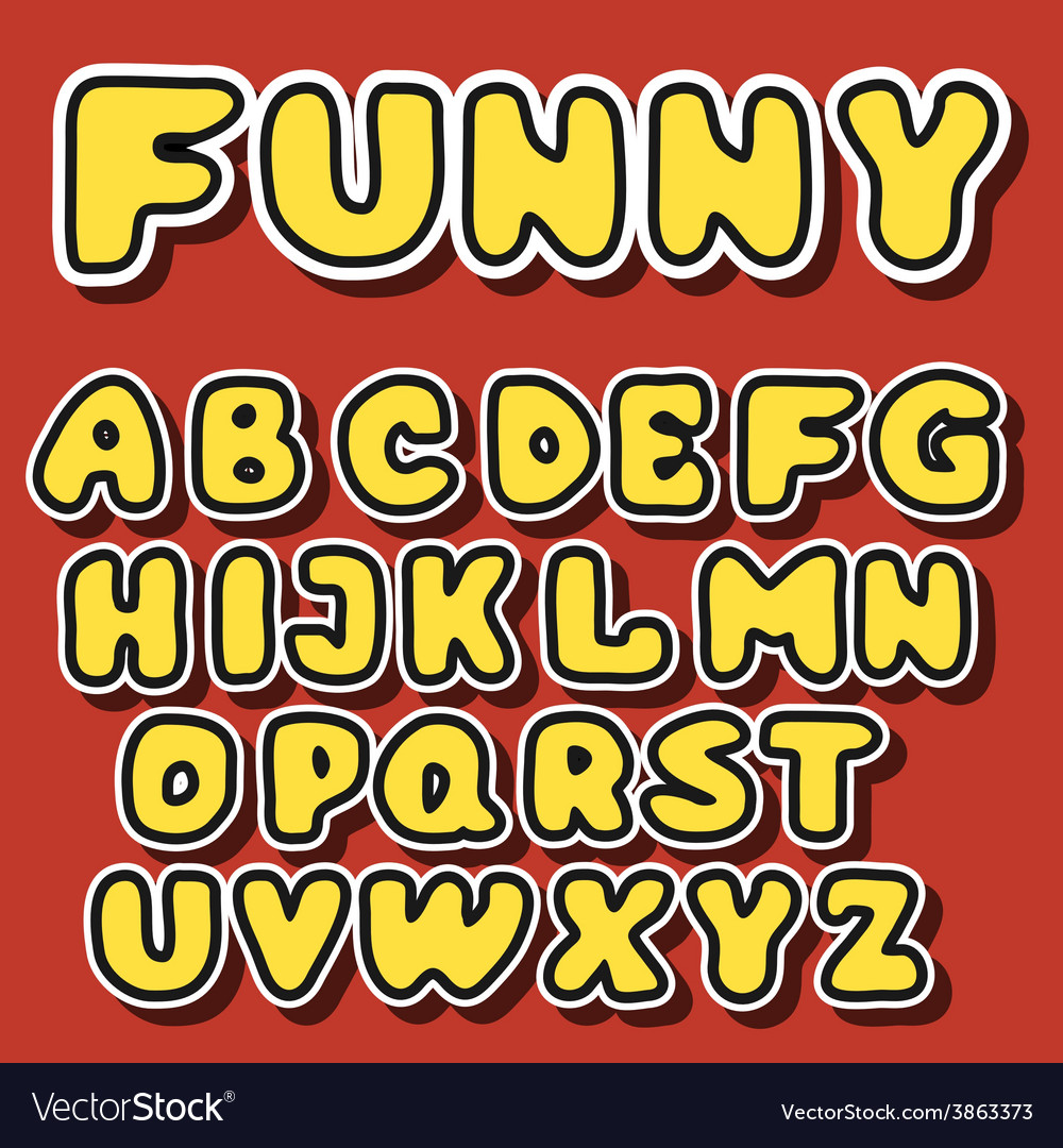 English alphabet in cartoon style