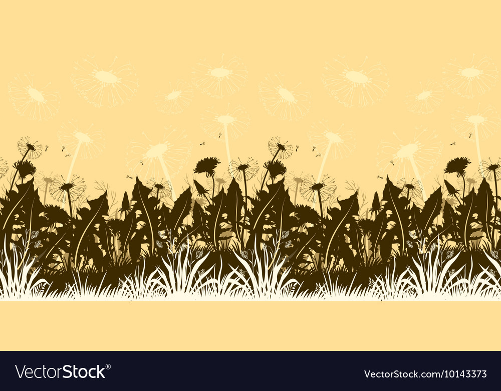 Flowers Dandelions Silhouettes Seamless