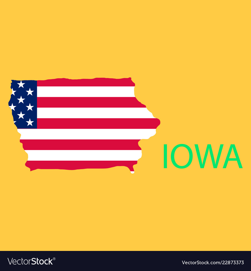 Iowa state of america with map flag print on map vector image on VectorStock
