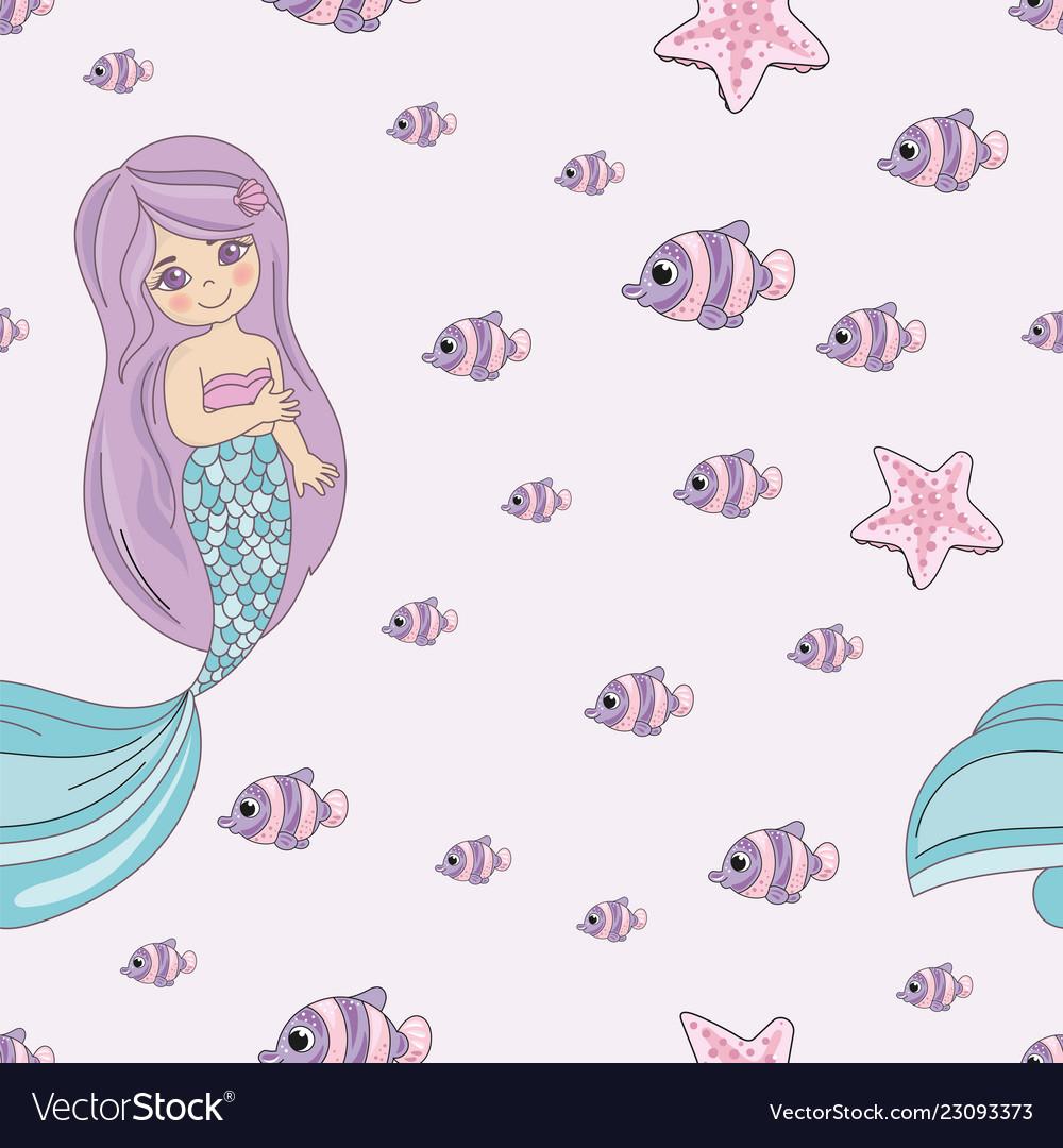 Mermaid smile sea travel seamless pattern