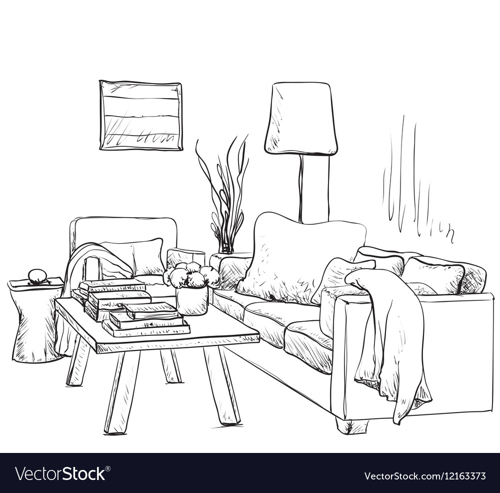 Modern interior room sketch Hand drawn fireplace