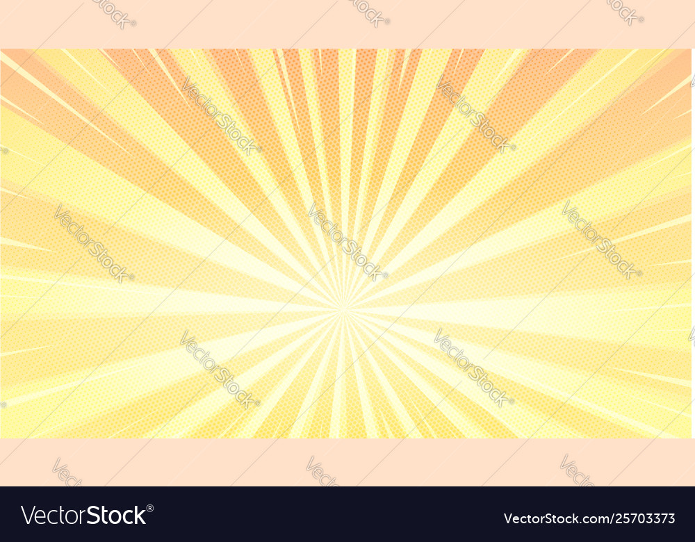 Pop art background with sunbeams and halftone