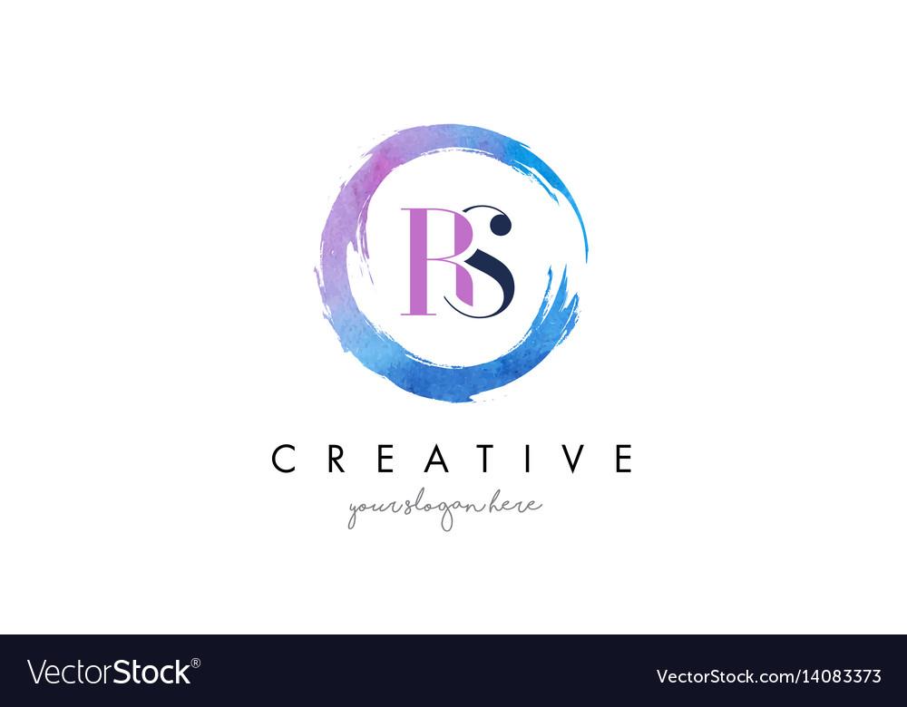 Rs letter logo circular purple splash brush