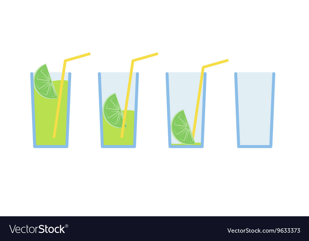 Set of green lemon coctail drink with straw stage