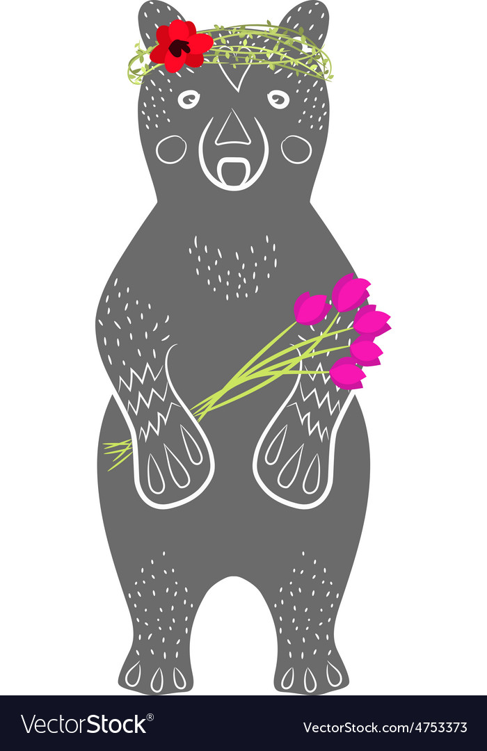 Standing grey bear cartoon animal with flowers