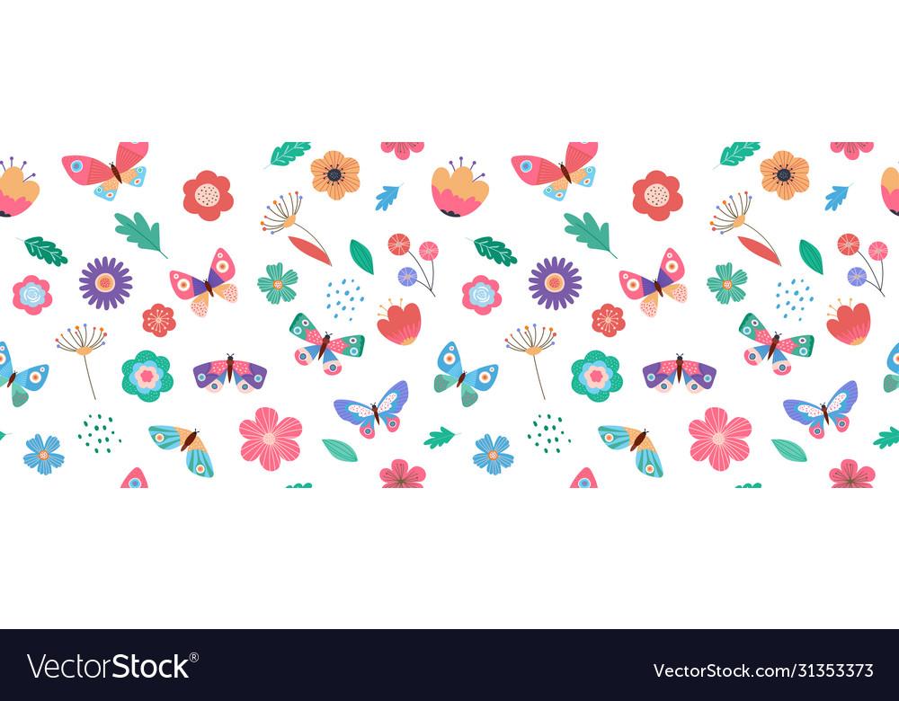 Summer seamless pattern banner with butterflies