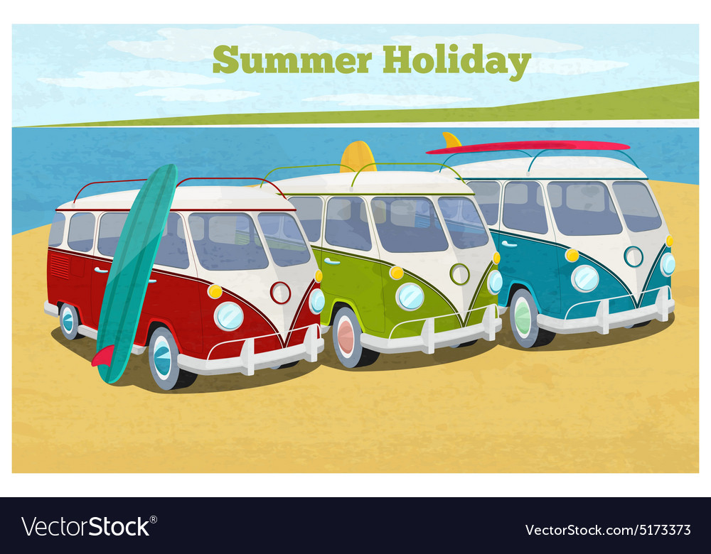 Summer travel design with camper van