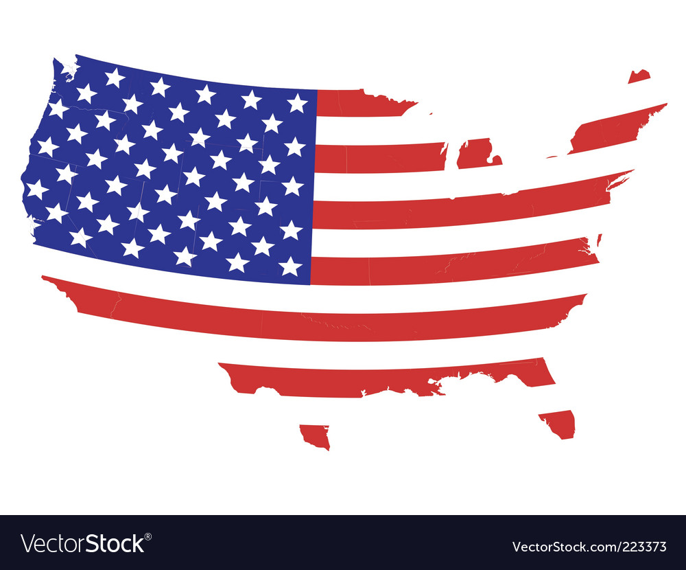 Us flag map Royalty Free Vector Image - VectorStock