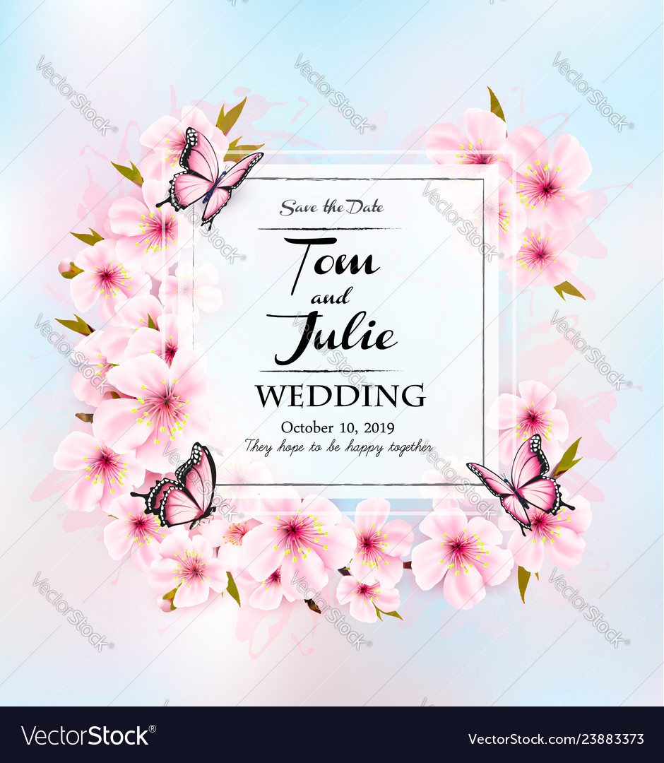 Wedding invitation getting card with pink flowers
