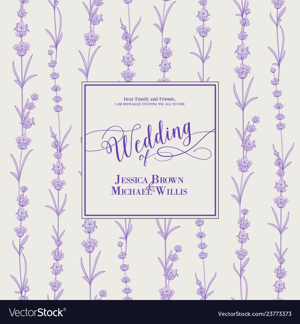 Wedding invitation with blossom lavender bridal