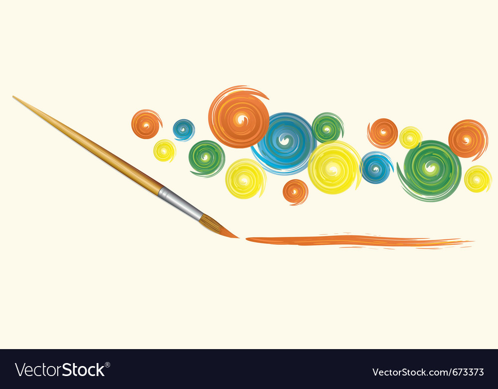 Wooden brush and strokes vector image
