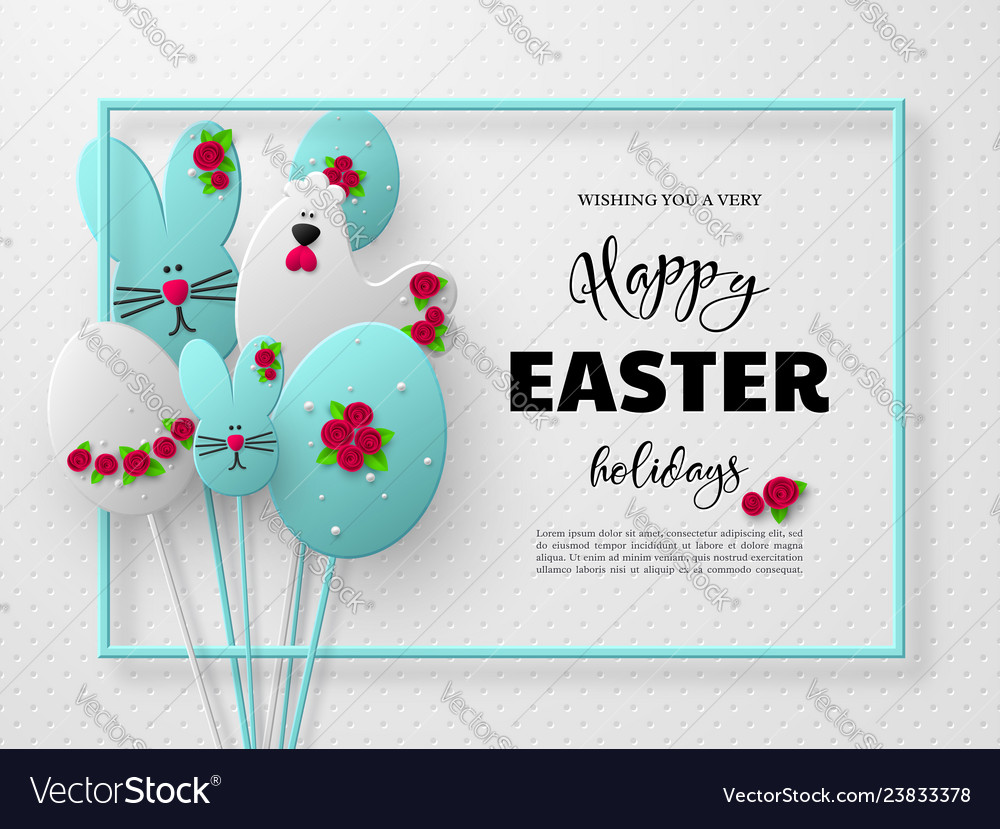 3d paper cur easter holiday design