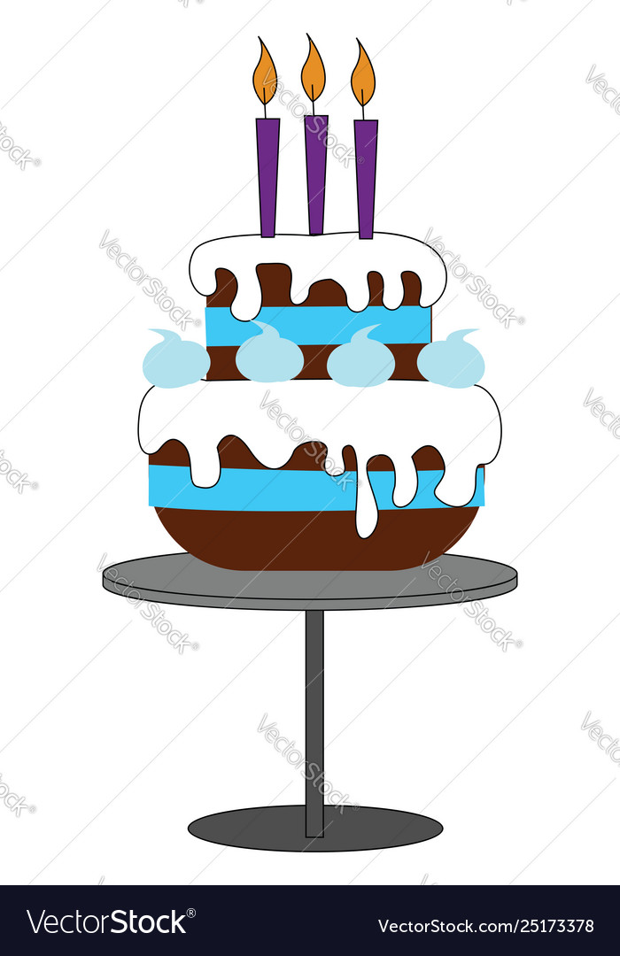 A Big Fondant Birthday Cake Mounted On Grey Vector Image
