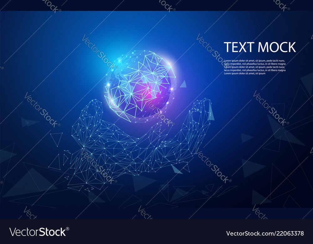 Abstract technology concept hand digital link and