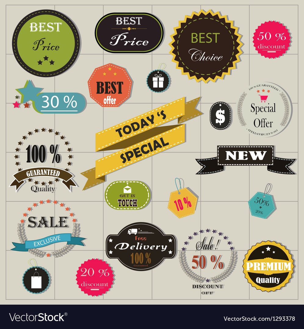 Big set of stickers and ribbons vector image