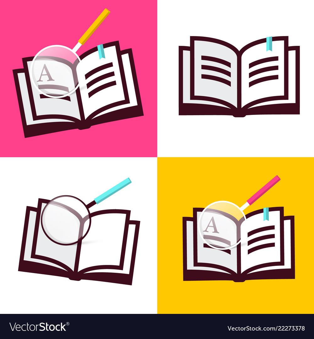 Book icon flat design open books symbols with