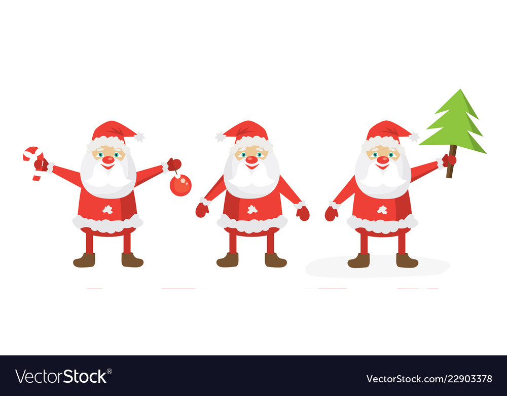 Cartoon santa set flat template