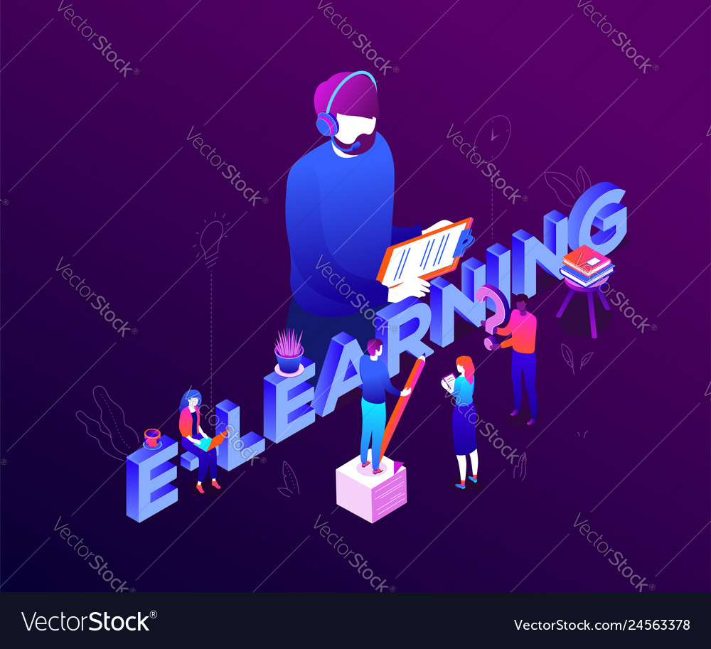 E-learning concept - modern colorful isometric