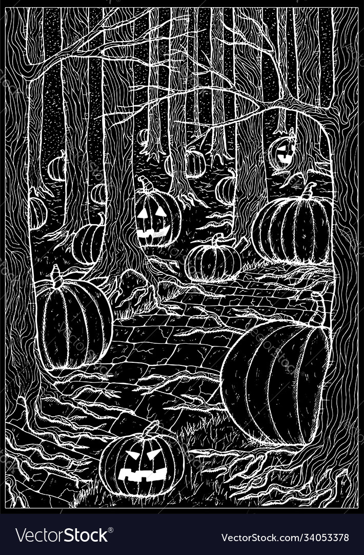 Evil pumpkins in forest