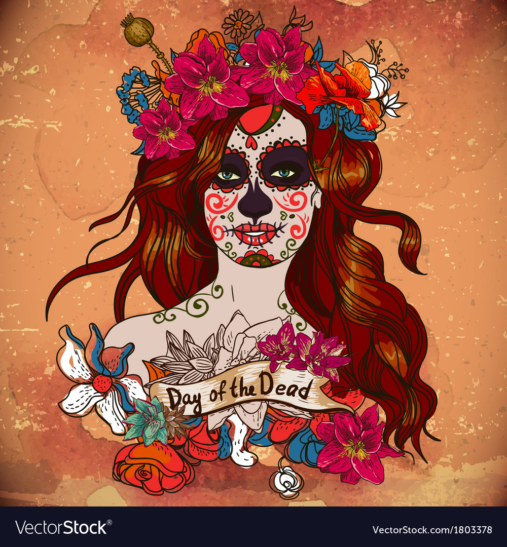 Girl With Sugar Skull Day of the Dead