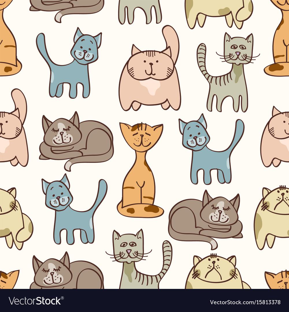 Hand drawn cute cats seamless pattern - pets