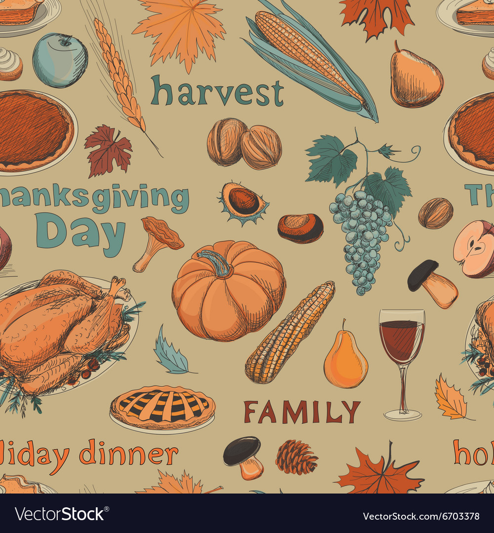 Hand drawn seamless pattern thanksgiving