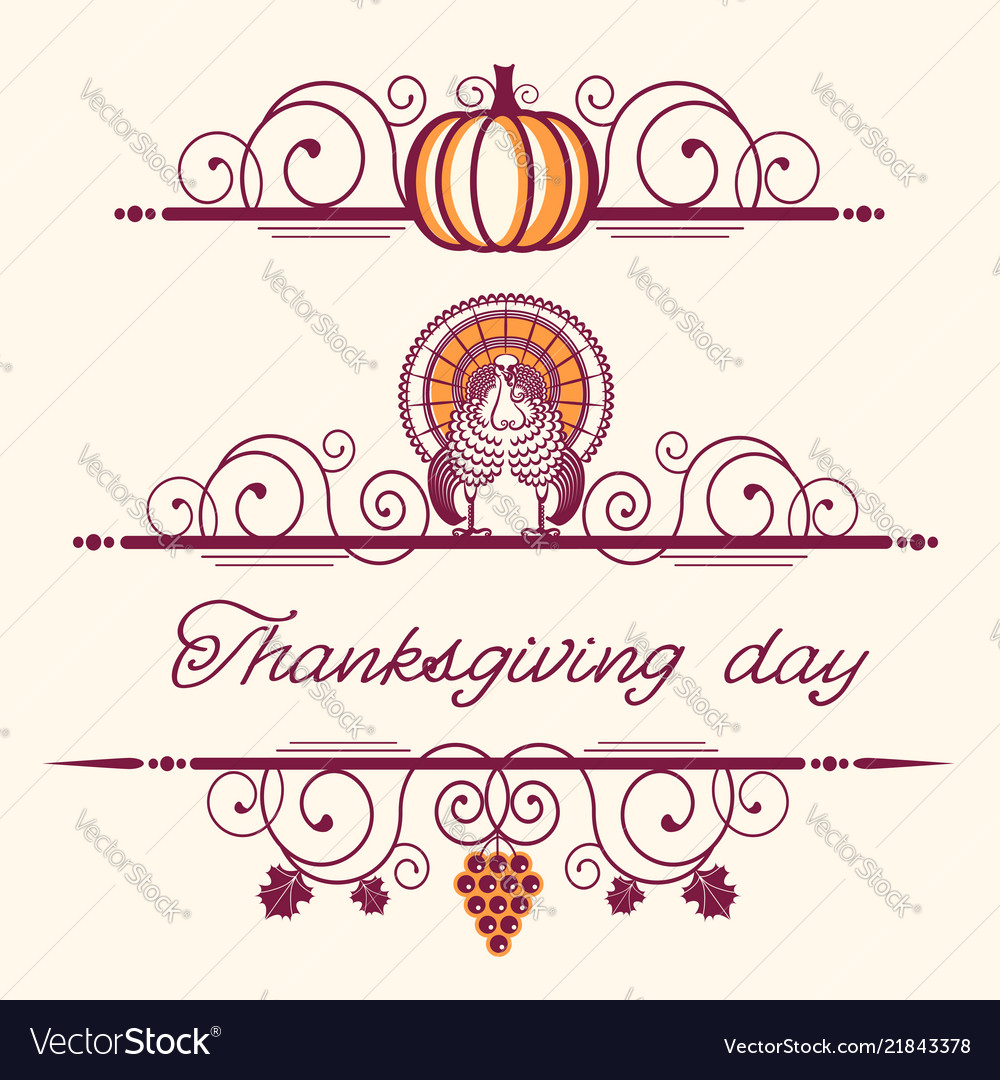Happy thanksgiving decorative vignettes and