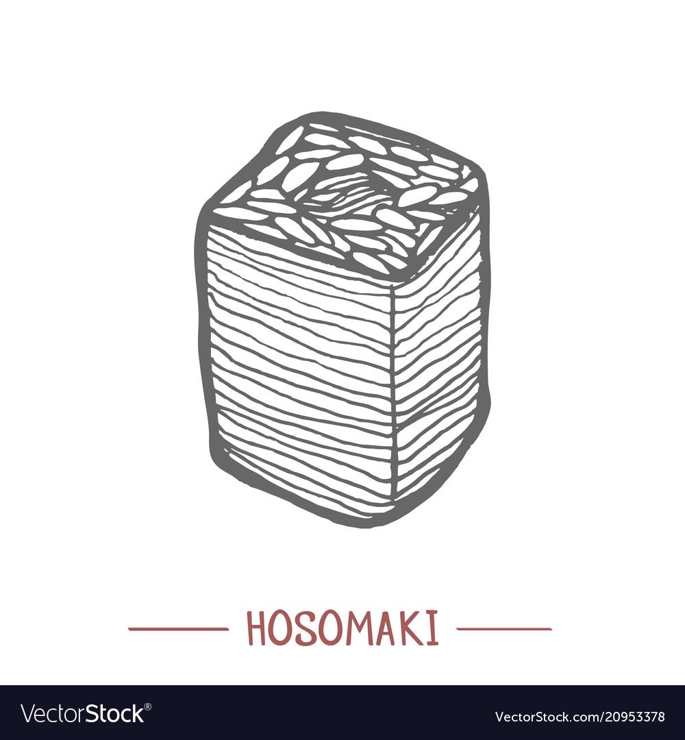 Hosomaki in hand drawn style