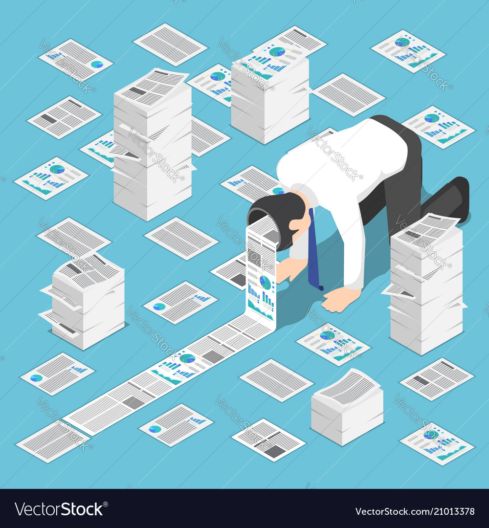 Isometric a lot of document come out from
