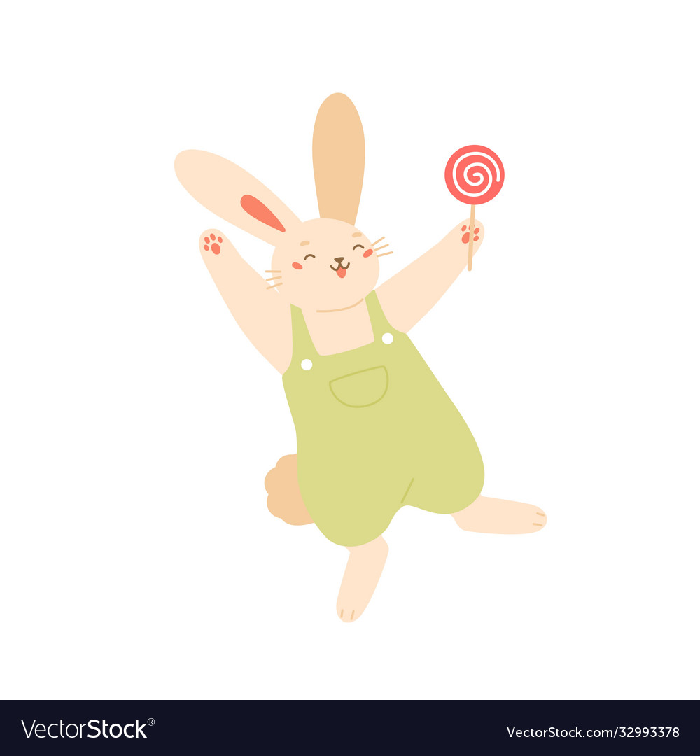 Joyful rabbit jumping holding lollipop flat