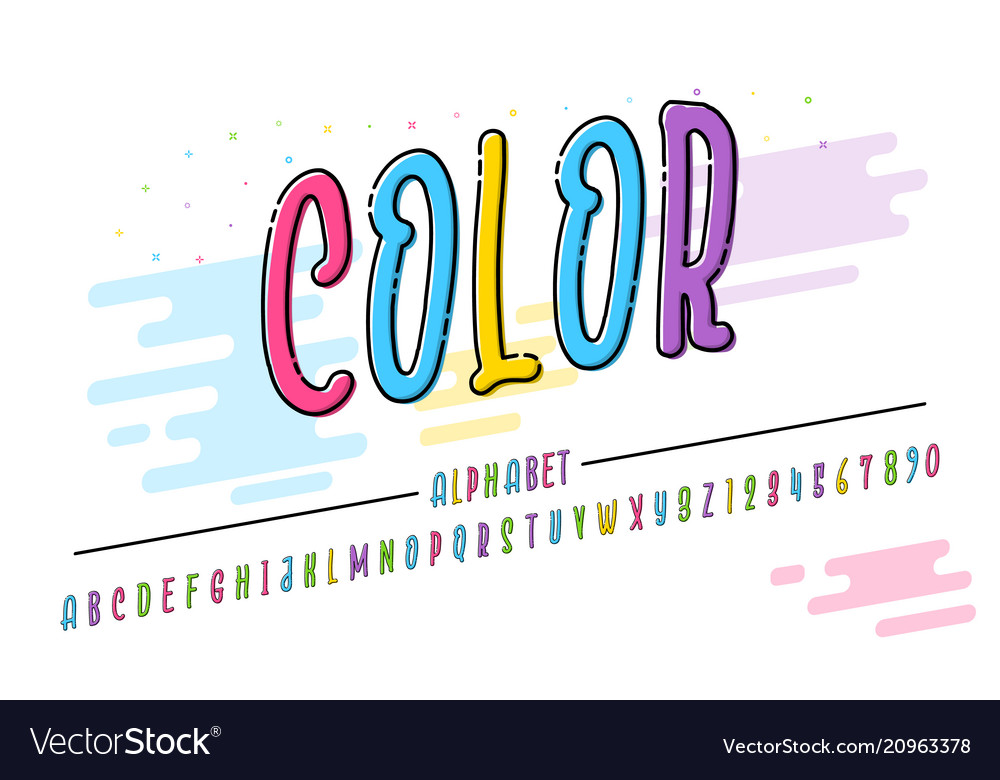 Latin alphabet trend font 2018 color in cute