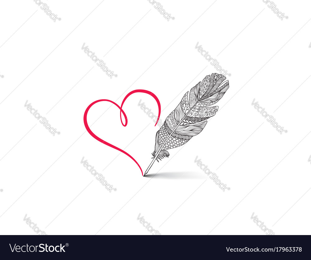 Love heart red calligrphic sign drawn by feather vector image