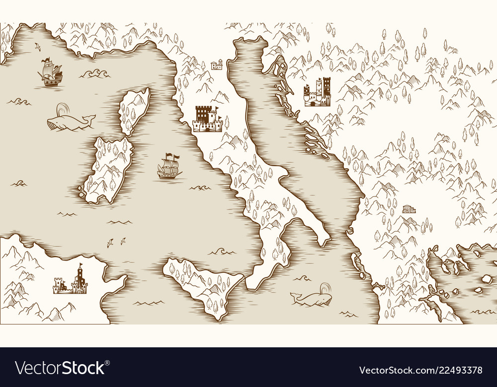 Medieval Map Of Italy.Old Map Of Italy Medieval Cartography Royalty Free Vector