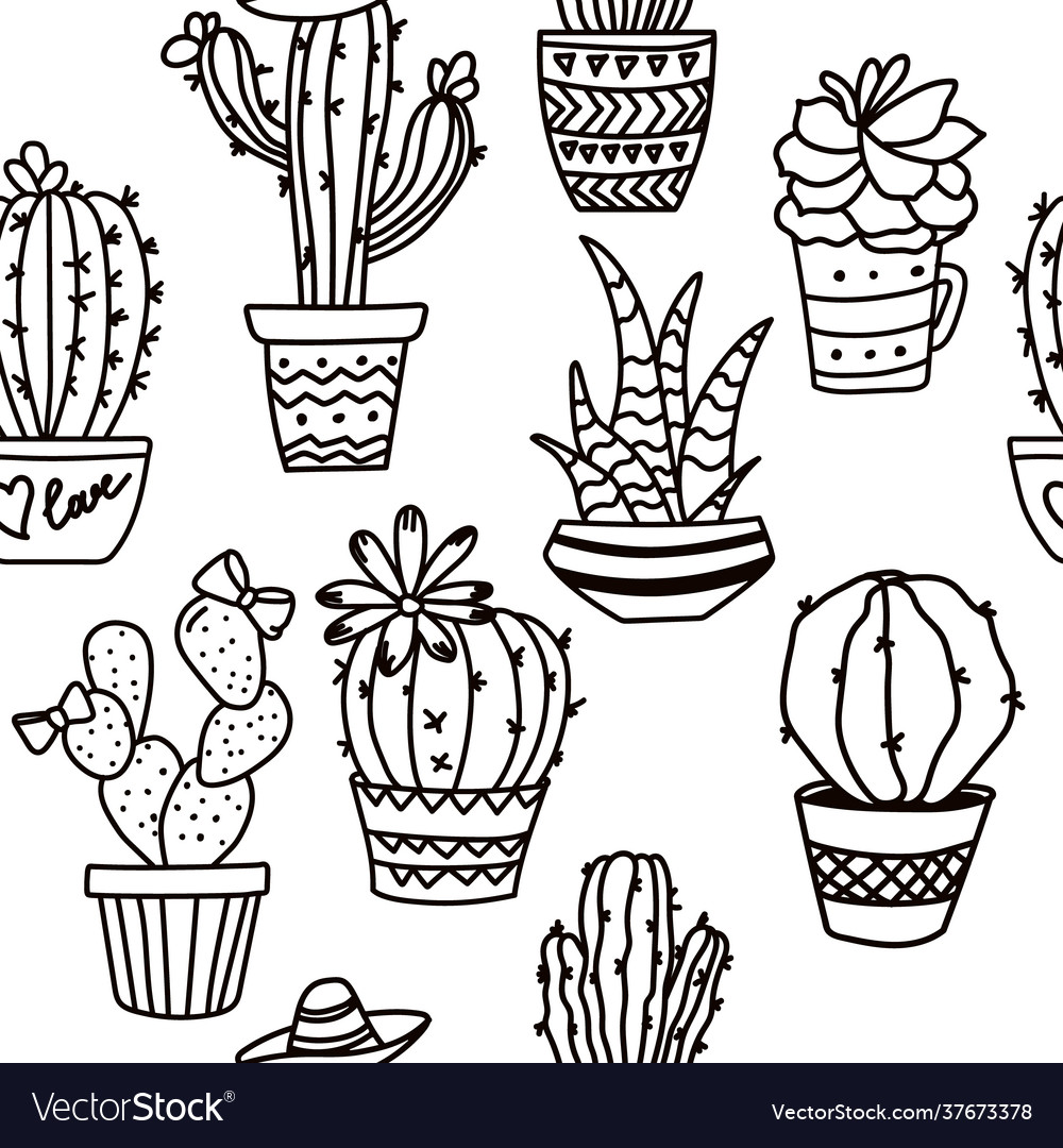 Outline seamless cactus pattern plant fabric