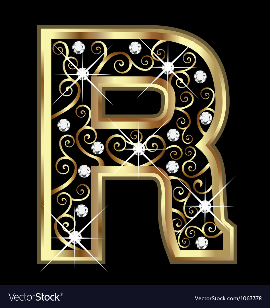R gold letter with swirly ornaments royalty free vector r gold letter with swirly ornaments vector image thecheapjerseys Image collections
