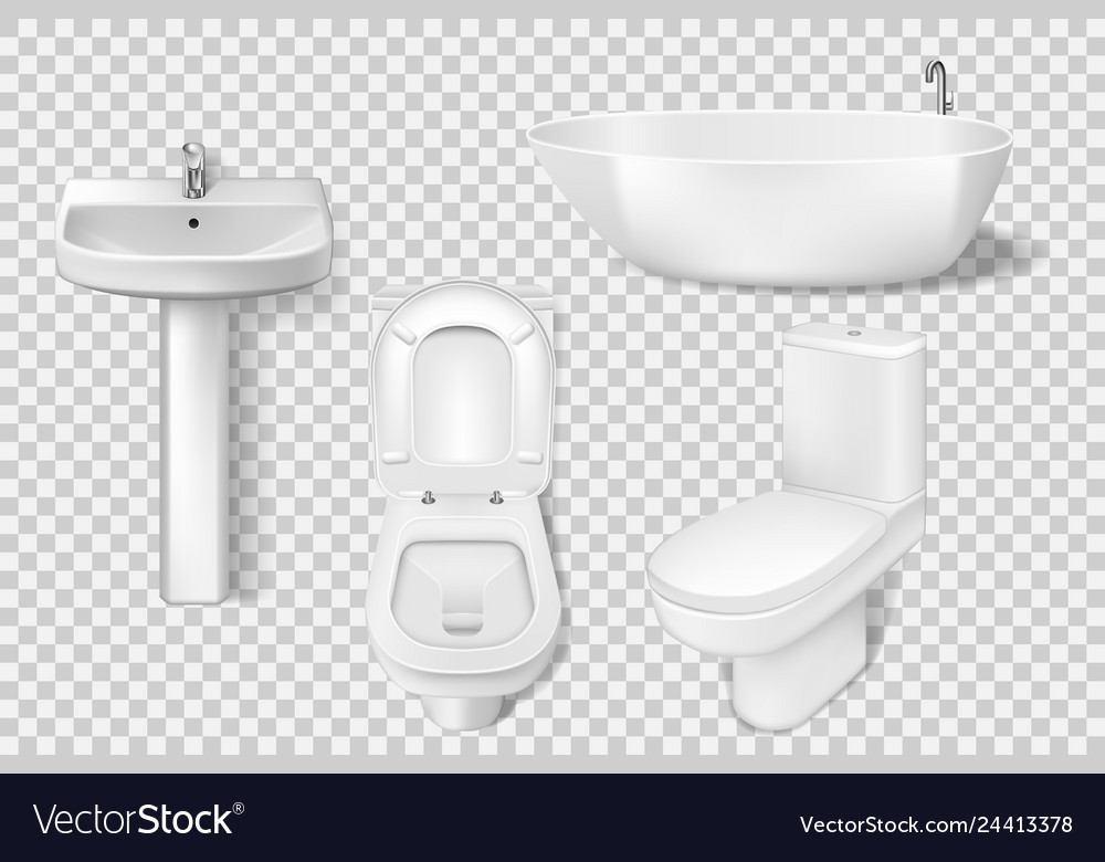 Realistic bathroom collection template white