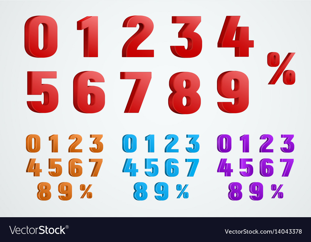 Set of 3d numbers from 0 to 9 and a percentage
