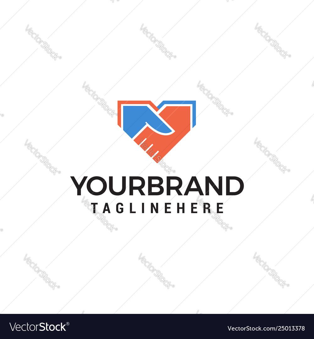 Shake hand logo design concept template