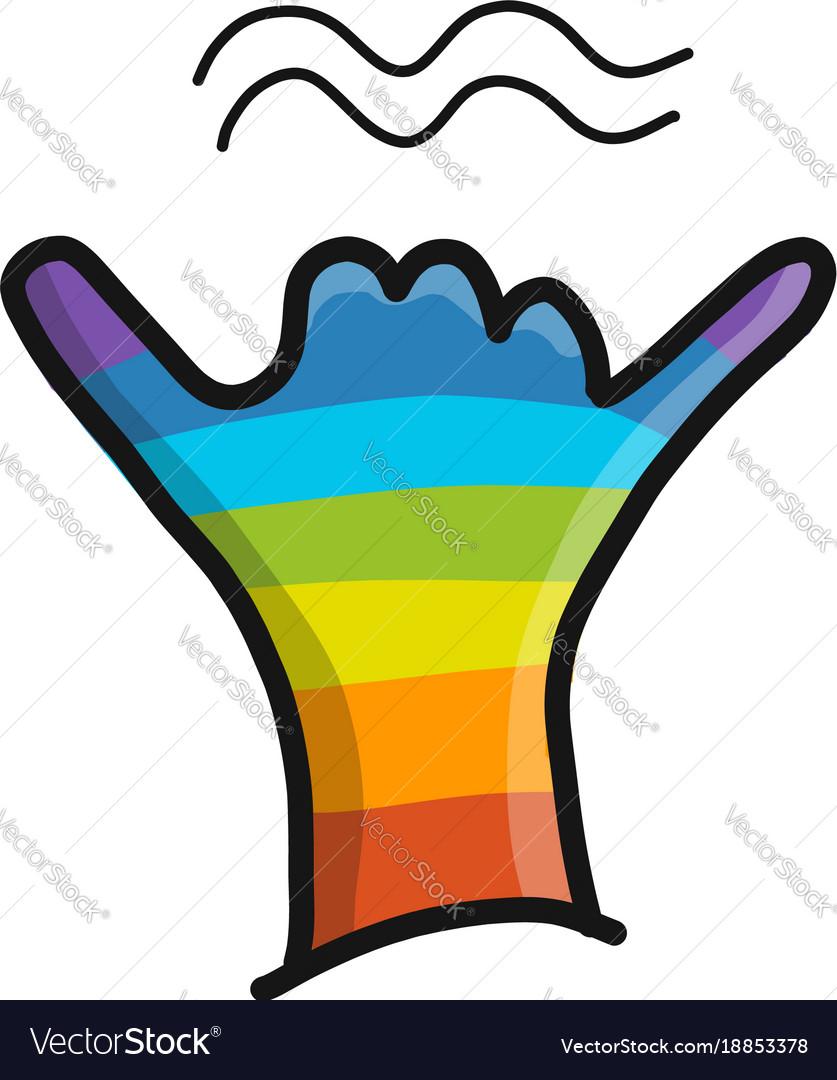 Surfer shaka gesture hand sketch for your design